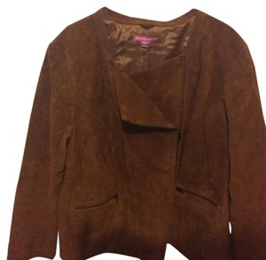 Woman Within Rust Leather Jacket