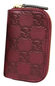 Gucci Bordeaux Guccissima Leather Zip Around Coin Purse Wallet 324801 6003