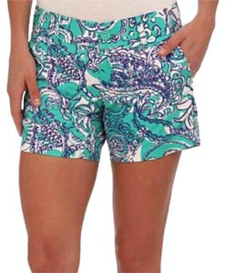 Lilly Pulitzer Mini/Short Shorts green, blue, and white