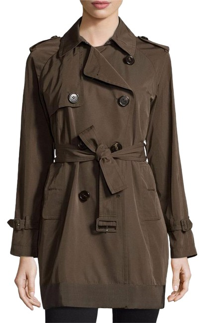Item - Olive Green Delmas Pleated Double Breasted Trench Jacket (Xxl) Coat Size 16 (XL, Plus 0x)