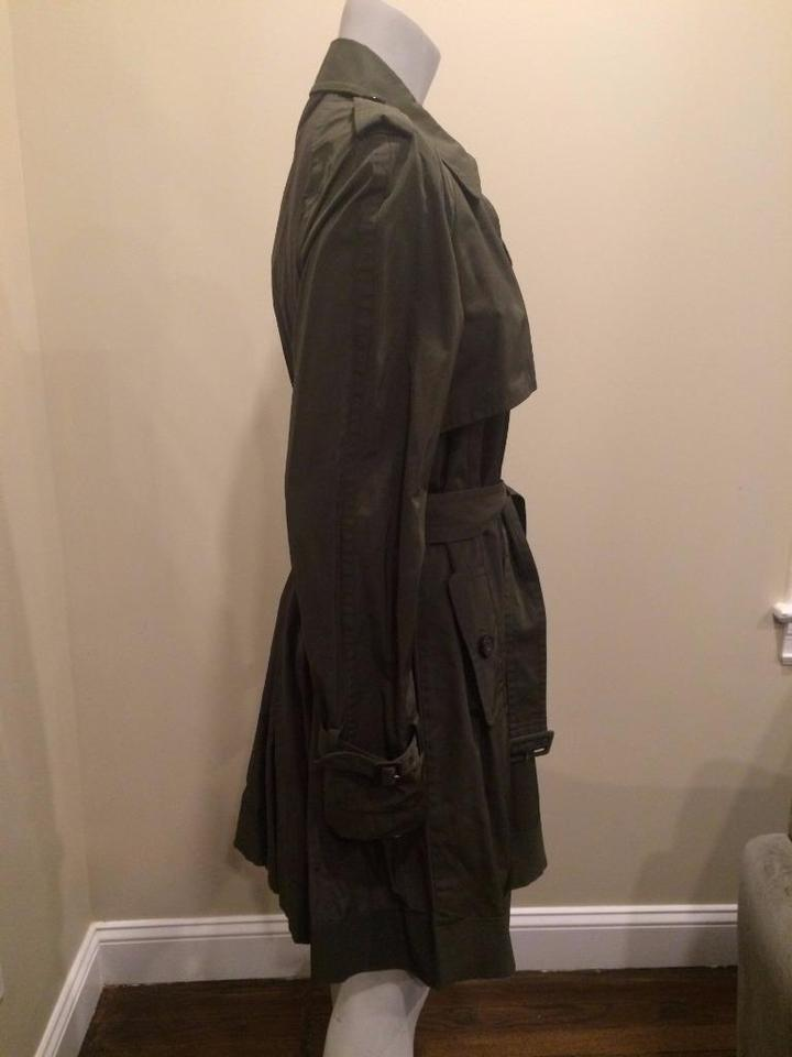 ff946d81af22 Moncler Olive Green Delmas Pleated Double Breasted Trench Jacket (Xxl) Coat  Size 16 (XL