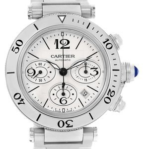 Cartier Cartier Pasha Seatimer Chronograph Silver Dial Mens Watch W31089M7