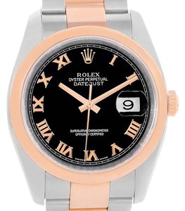 Rolex Rolex Datejust Steel 18K Rose Gold Black Roman Dial Watch 116201
