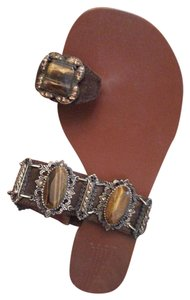 Pelle Moda Bronze Tiger Leather Studded Sparkle Brown Sandals