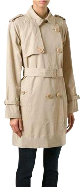 Item - Stone Beige Delmas Pleated Double Breasted Trench Jacket 3 (Large) Coat Size 12 (L)