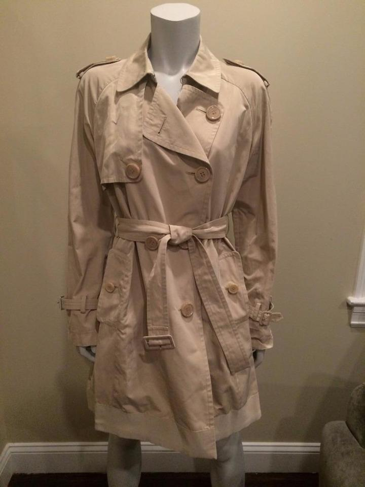 af51e3ab72a3 Moncler Stone Beige Delmas Pleated Double Breasted Trench Jacket 3 ...