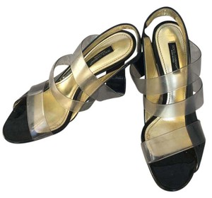 Dolce&Gabbana Patent Leather Clear Straps Metallic Geometric Heel Comfortable Black Sandals