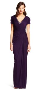Adrianna Papell Aubergine Cap Sleeve Stretch Tulle Gown Dress