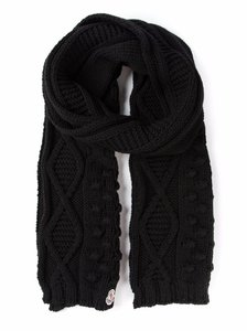 Moncler Unisex Women Men Black Wool Cable Knit Long Scarf Made in Italy