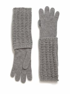 Moncler Guanti Grey Wool Cashmere Long Knit Gloves Arm Warmers Size Large