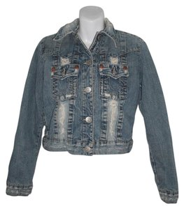 True Religion Serape Lining Denim Jean Cropped Horse Shoe Womens Jean Jacket