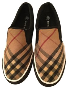 Burberry Sneakers Black with Burberry Plaid and white bottom Flats