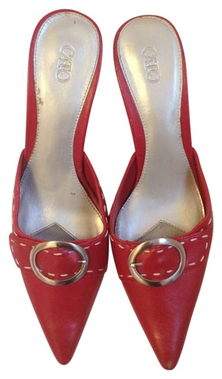 Cato High Heel Open Back Short Red Mules