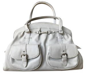 Dior Leather My Satchel in Off White