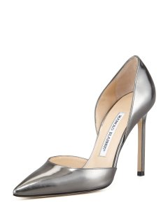 Manolo Blahnik Brand New Metallic Silver Pumps