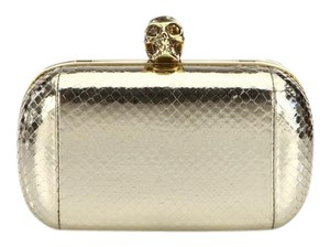 Alexander McQueen Skull Amq Snakeskin Crossbody Metallic Light Gold Clutch