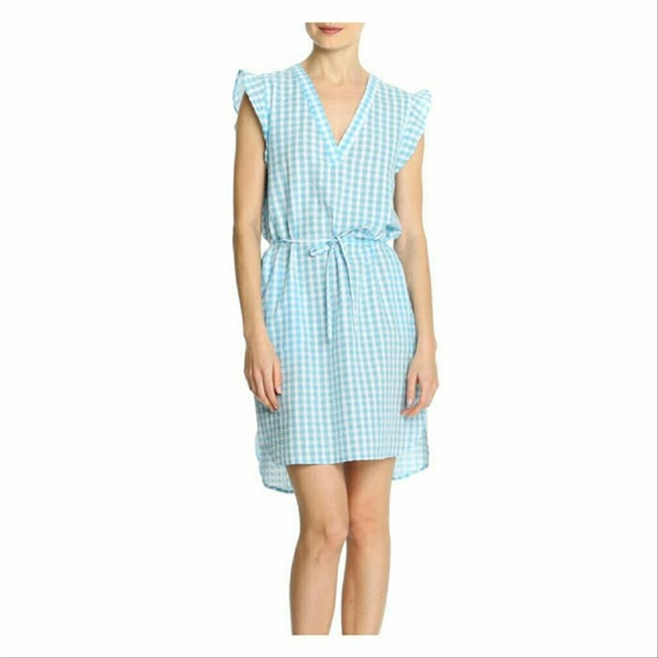 Joe Fresh Blue and White Gingham Flutter Sleeve Short Casual Dress ...