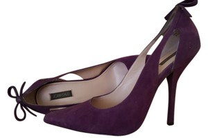 Joan & David Suede Bows Cutout Pointed Toe Purple Pumps