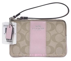 Coach Wallet Small Embossed Monogram Wristlet in Pink, Khaki
