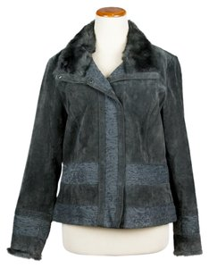 Coldwater Creek Black-Grey Leather Jacket