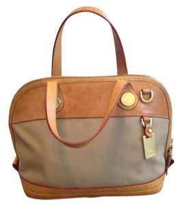 Dooney & Bourke Leather Gold Hardware Satchel in Natural