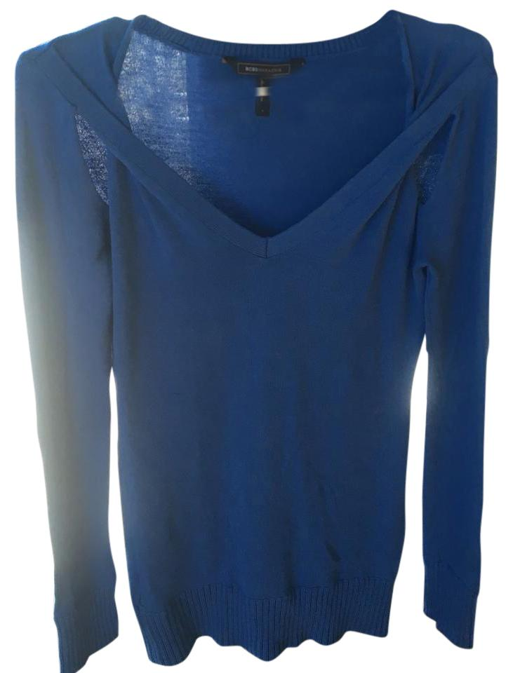 neck Bcbg BCBGMAXAZRIA Sweater Out with V Pullover Blue Detail Cut t1wCwqFx