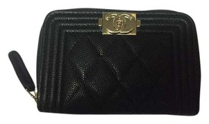 Chanel CHANEL 2017 Black Caviar Boy Zip Coin Purse