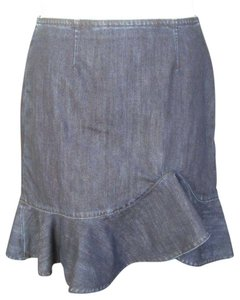 Leifsdottir Anthropologie Jean Pencil Ruffled Sexy Skirt Blue