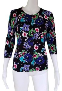 Talbots Cotton Floral Knit 3/4 Sleeves Cardigan