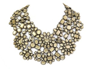 Chanel Chanel Taupe Glass CC Floral Bib Collar Necklace