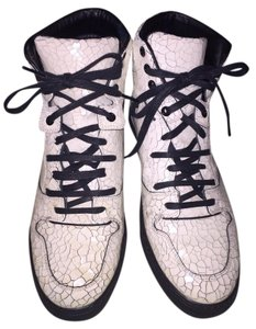Balenciaga Sneakers High Tops White Crackled Leather Athletic