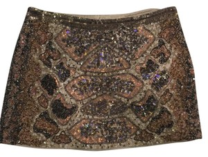 AllSaints Mini Skirt Neutral (brown, pink, beige sequin pattern)