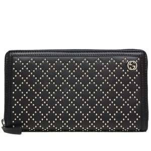 Gucci Diamante Studded Black Leather Zip Around Wallet 308021