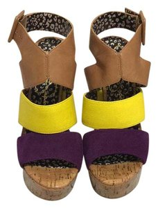Jessica Simpson tan yellow purple Platforms