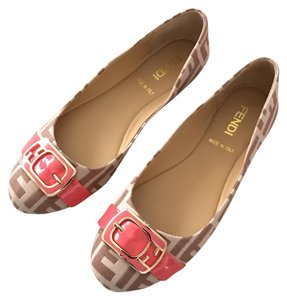 Fendi Beige/Brown/Coral Flats