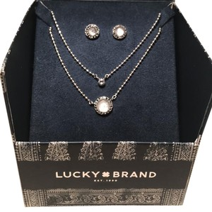 Lucky Brand Layered Necklace and Earring Set in a Box (NWT)