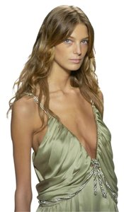 Chloé Green Silk Beading Silver Runway Dress