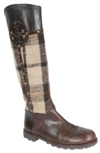 Tory Burch Wool Riding Leather Brown Boots