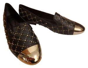 SCHUTZ Slipper Studded Gold Black Flats
