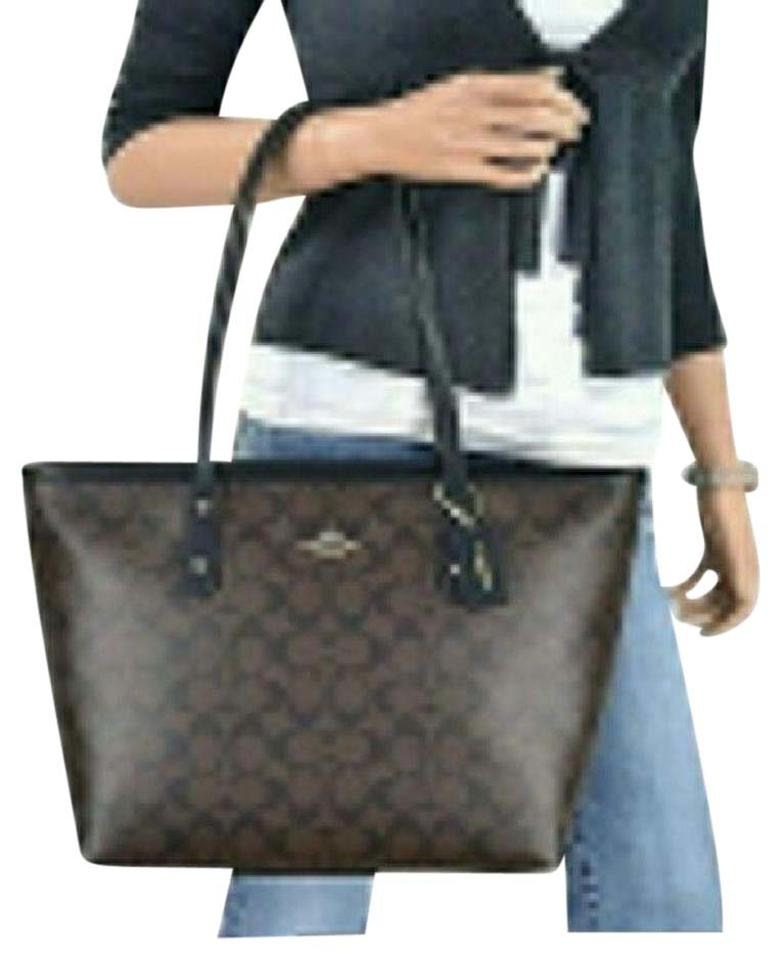 66b58bab335e Coach City Signature Zip Top Brown   Black Coated Canvas Tote - Tradesy