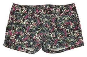 American Eagle Outfitters Print Cuffed Shorts Floral pattern with pink, teal, cream, and purple
