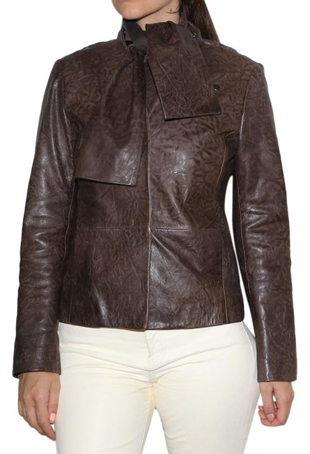Item - Brown Lamb Tie Leather Jacket Size 0 (XS)