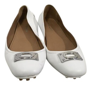 Coach Rubber Bumpers Padded Insoles Silver Metal Front White leather leather lining driving Flats