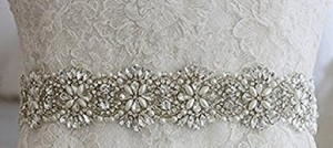 Brand New - Crystal Rhinestone And Fake Pearl Satin Wedding Sash