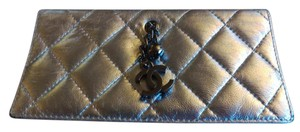 Chanel Silver Quilted Leather Wallet/Clutch