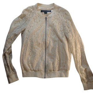 French Connection Lace Bomber Cream Jacket