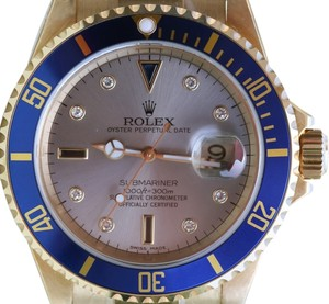 Rolex ROLEX MENS 16618 SUBMARINER WATCH 18K GOLD FACTORY DIAL 2005