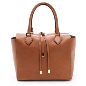 Michael Kors Collection Leather Gold Hardware Signature Logo Designer Tote in LUGGAGE/ GOLD