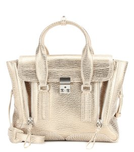 3.1 Phillip Lim Crackle Metallic Pashli Medium Satchel in Gold