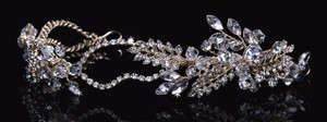 EnVogue Bridal Envogue Rhinestone Tiara With Crystal Accents/ Gold